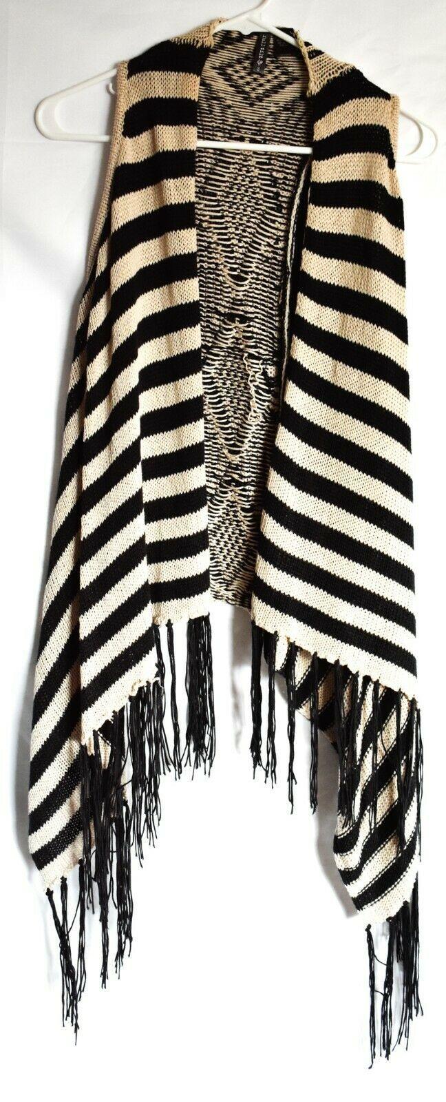 Full Tilt Black & Tan Striped Sleeveless Fringed Boho Sweater Vest Size S