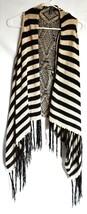 Full Tilt Black & Tan Striped Sleeveless Fringed Boho Sweater Vest Size S image 1