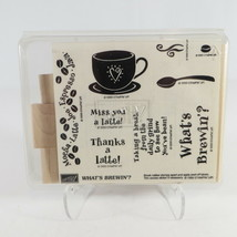 Stampin Up! What's Brewin'? Set 9 Wood Rubber Art Stamps 1999 New Never Used  - $19.20