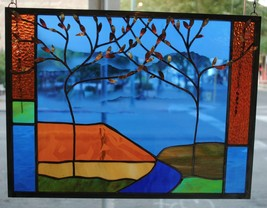 Stained Glass Window Panel two trees mountain river landscape moon - $167.31