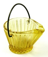 Vintage Miniature Yellow Amber Glass Bucket Pail with Metal Handle - £5.79 GBP