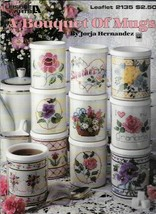 A Bouquet of Mugs in Counted Cross Stitch Leisure Arts 2135 1991 Flowers - $4.99