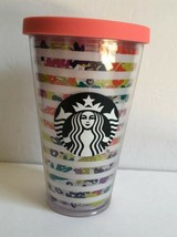 691bc0940b2 STARBUCKS Grande White Stripes Floral 16 oz Cold Cup Travel Tumbler EUC No  Straw - $10.40