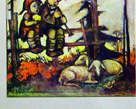 Vintage Hummel Print German Children Alps Sheep