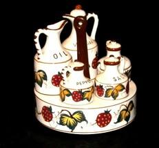 Ceramic Oil, Vinegar, Mustard, Salt, and Pepper on a Caddie AA19-1640 Vintage image 2