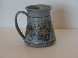 Handcrafted Pottery Ceramic Tankard Style  Mug In Blues, Greens and Browns - $12.99