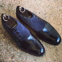 Handmade Men's Black 7 Blue Buttons Dress/Formal Leather And Suede Shoes image 3