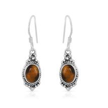 Tiger Eye Gemstone Earring, 925 Silver Earring, Oval Shape, Dangle Earring - $14.99