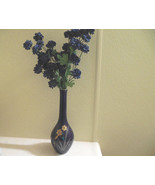 Cobalt Blue Gold Vase, Daffodil, Gold Floral Vase, Japanese Blue Vase, G... - $25.00