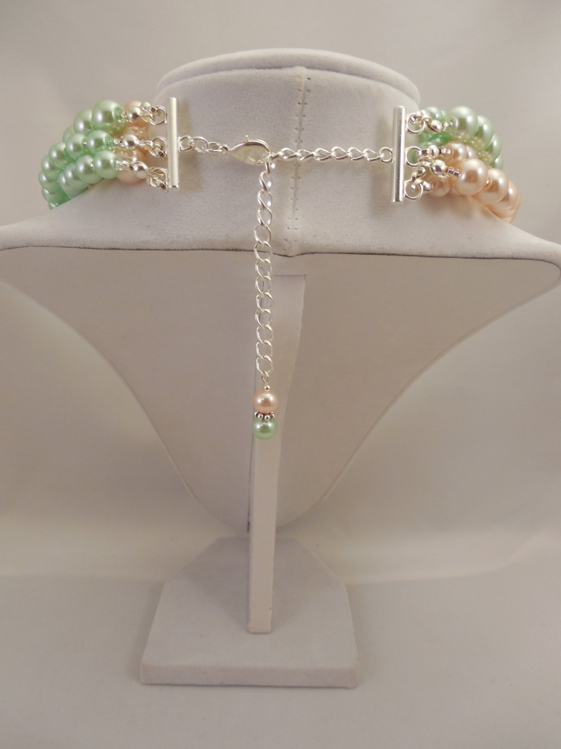 Multi Strand Choker Style Necklace with Blush Peach & Mint Green Glass Pearls