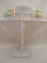 Multi Strand Choker Style Necklace with Blush Peach & Mint Green Glass Pearls image 4