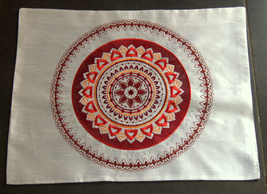 Shabbat Judaica Challah Bread Cover White Red Brown Mandala Silver Embroidery