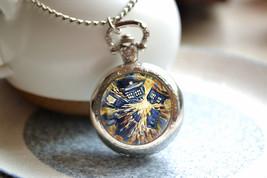 Tardis Pocket Watch, Doctor who watch necklace, Van gogh starry sky phot... - $14.00