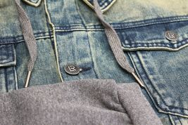 Men's Hooded Button Up Faded Denim With Jersey Sleeves Jean Trucker Jacket image 4