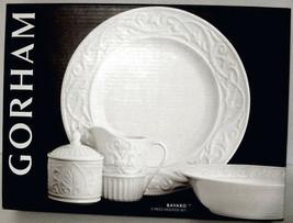 Gorham Bavaro White Embossed 5/PC Set Platter-Veggie Bowl-Sugar Bowl-Cre... - $69.90