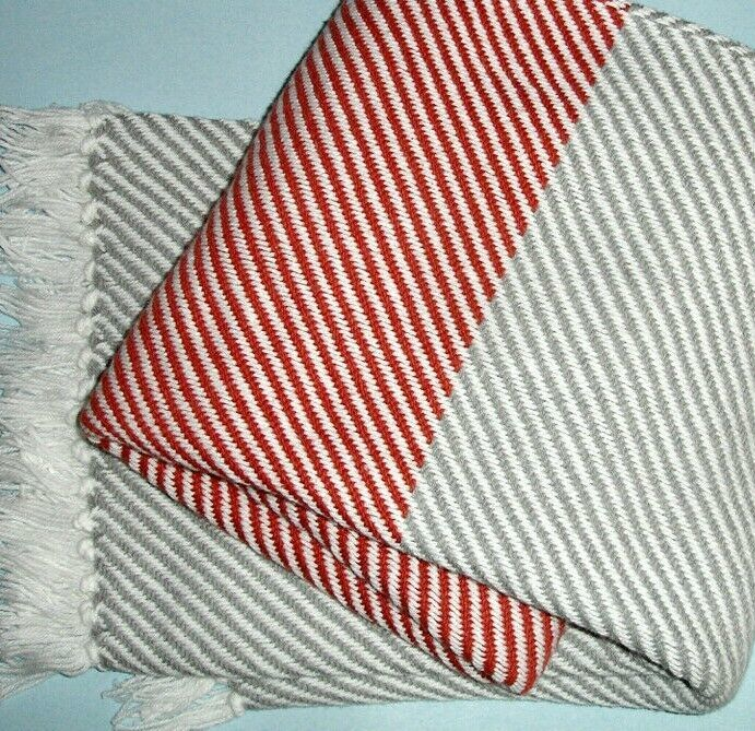 "Primary image for Brahms Mount Diagonal Stripe Cotton Knit Throw Blanket Red Grey White 48x70"" New"