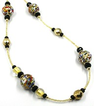 NECKLACE MACULATE LONG MULTI COLOR MURANO GLASS SPHERE, GOLD LEAF, ITALY MADE image 2