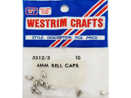 Westrim Craft 4mm Silver Bell Bead Caps, 10 Pieces #5312/3