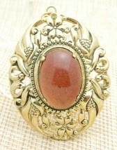 Gold Tone Bronze Goldstone Repousse Flower Pendant Vintage - $29.70
