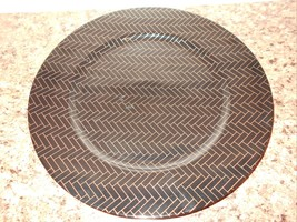 """2 Fitz & Floyd Round Charger Service Plate Black Gold 12"""" Diam Find Porcelain  - $23.36"""