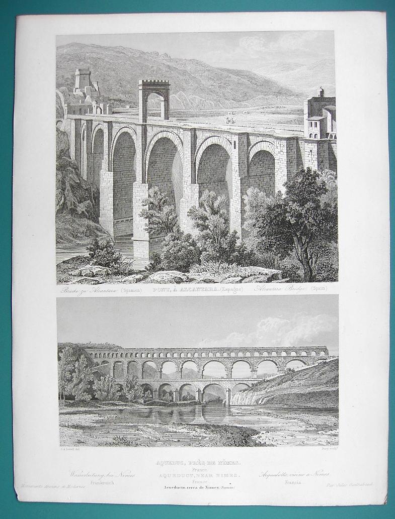 ARCHITECTURE PRINT 1850 - Roman Aqueduct at Nimes & Bridge at Alcantra Spain
