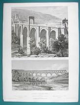 ARCHITECTURE PRINT 1850 - Roman Aqueduct at Nimes & Bridge at Alcantra S... - $21.60