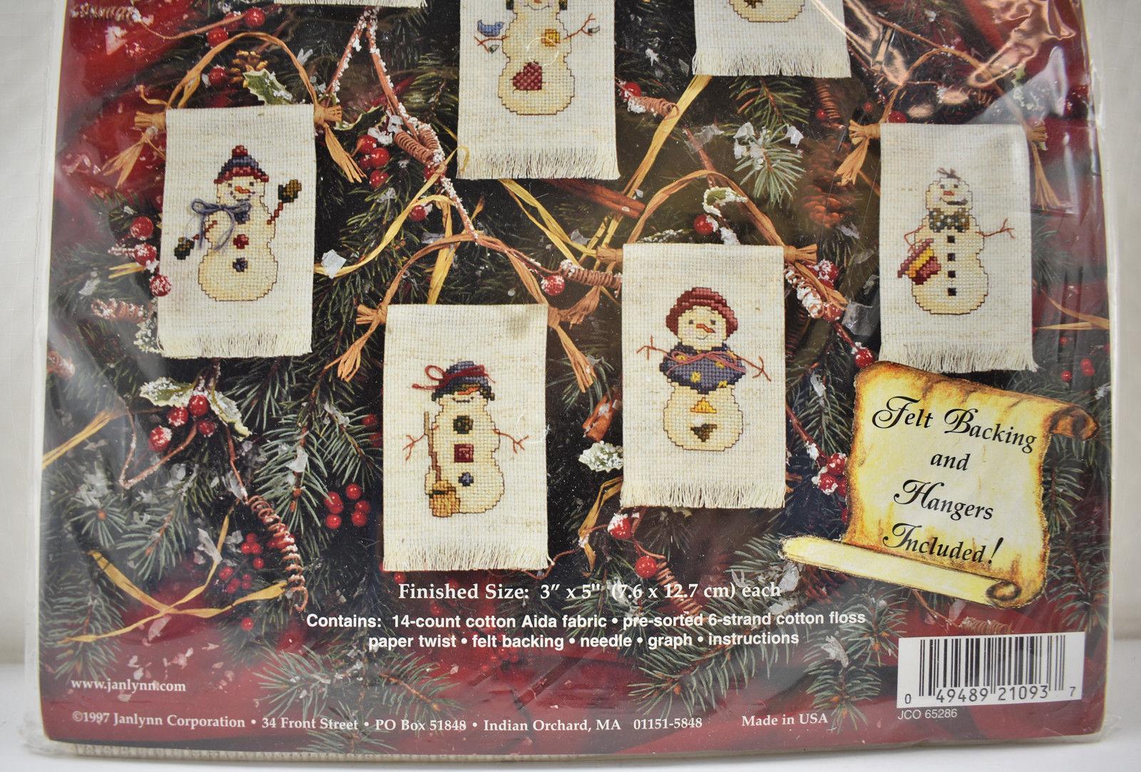 Janlynn Christmas Folk Art Snowmen Ornaments Counted Cross Stitch Kit #21-93