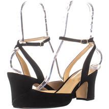 Ivanka Trump Itlelliot Ankle Strap Block Heels, Black 692, Black, 8.5 US - $45.11