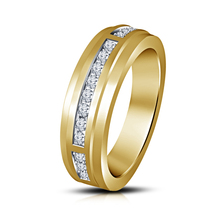 14K Yellow Gold Finish 925 Sterling Silver Mens Anniversary Diamond Ring - $93.99