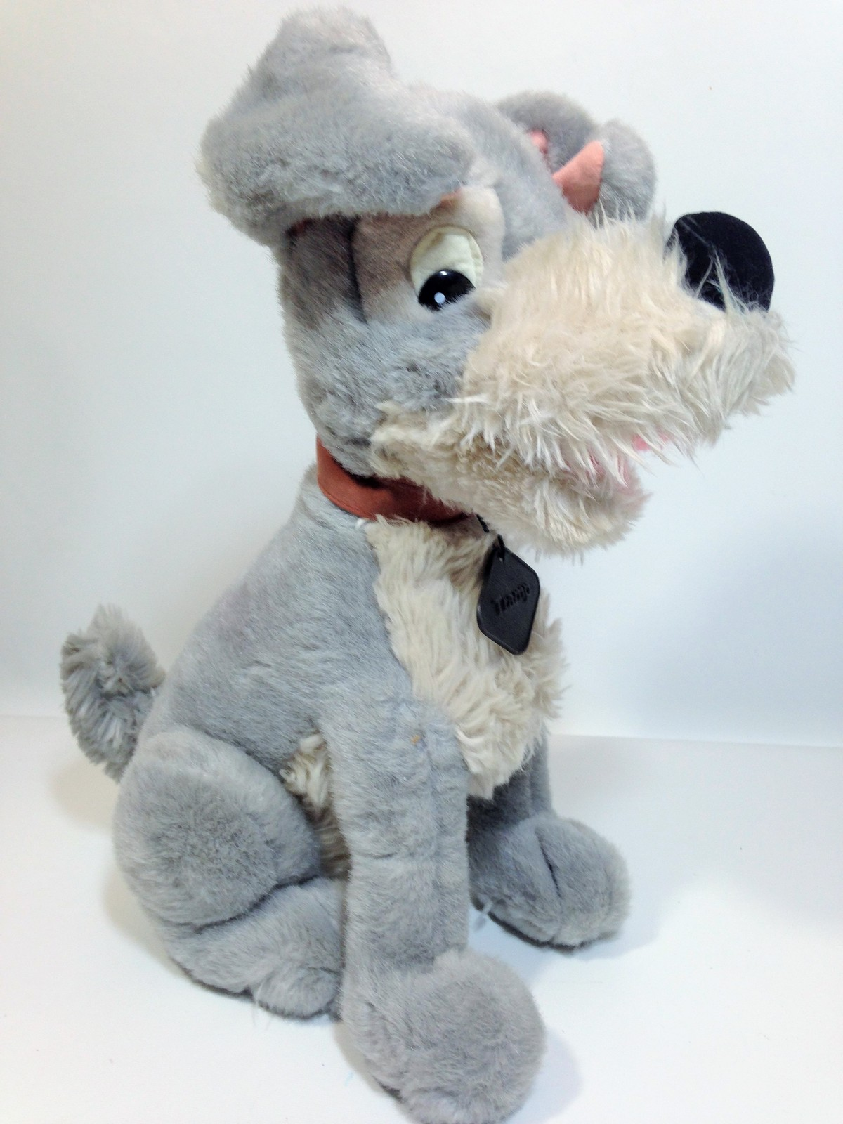 Vintage Disney Tramp Plush Dog Grey Stuffed Animal Metal DogTag 14""