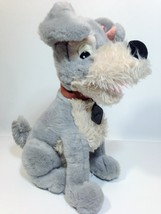 "Vintage Disney Tramp Plush Dog Grey Stuffed Animal Metal DogTag 14"" - $39.99"