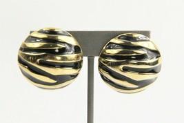 ESTATE VINTAGE Jewelry 80's HUGE 3D DOMED ZEBRA ENAMEL STATEMENT RUNWAY ... - $10.00