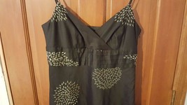 ANN TAYLOR EMBROIDERED BROWN SUNDRESS SPEGETTI STRAPS SIZE 8 WOMAN COTTO... - $9.89