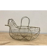 Vintage Folk Art Gold Wire Chicken Basket w/ Handle - $9.07