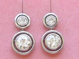 ART DECO 4.75ctw EURO DIAMOND 2-STONE PLATINUM DOUBLE HALO STUD DANGLE E... - $29,461.41