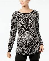 Charter Club Black Printed Knit Sweater Jacquard Women XL - $46.15 CAD