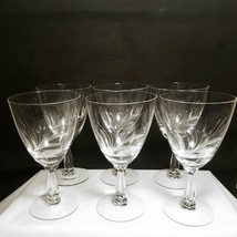 Fostoria SPRAY Water Goblet Set of 6 Clear Wheat Type Etch Discontinued 1972 VFC - $49.90