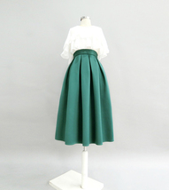 Emerald Green Midi Holiday Skirt Outfit Women Pleated Midi Skirt with Pockets image 4