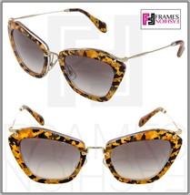 MIU MIU NOIR 10N Brown Havana Marble Gold Cat Eye Sunglasses DHF-0A7 MU10NS - $277.20