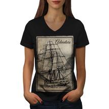 Old Classic Sailboat Shirt Huge Ship Women V-Neck T-shirt - $12.99+
