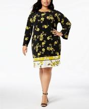 Alfani Plus Size 18W A-Line Dress Womens Floral Print Gold Orch Breeze N... - $25.73