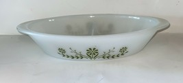 Vintage Glasbake Large Divided Green Daisy  Oval Serving Dish - $9.50