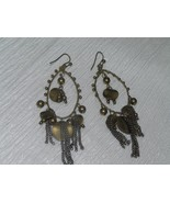 Estate Long Antique Goldtone Wire Teardrop with Beads Disks & Chain Dang... - $10.39