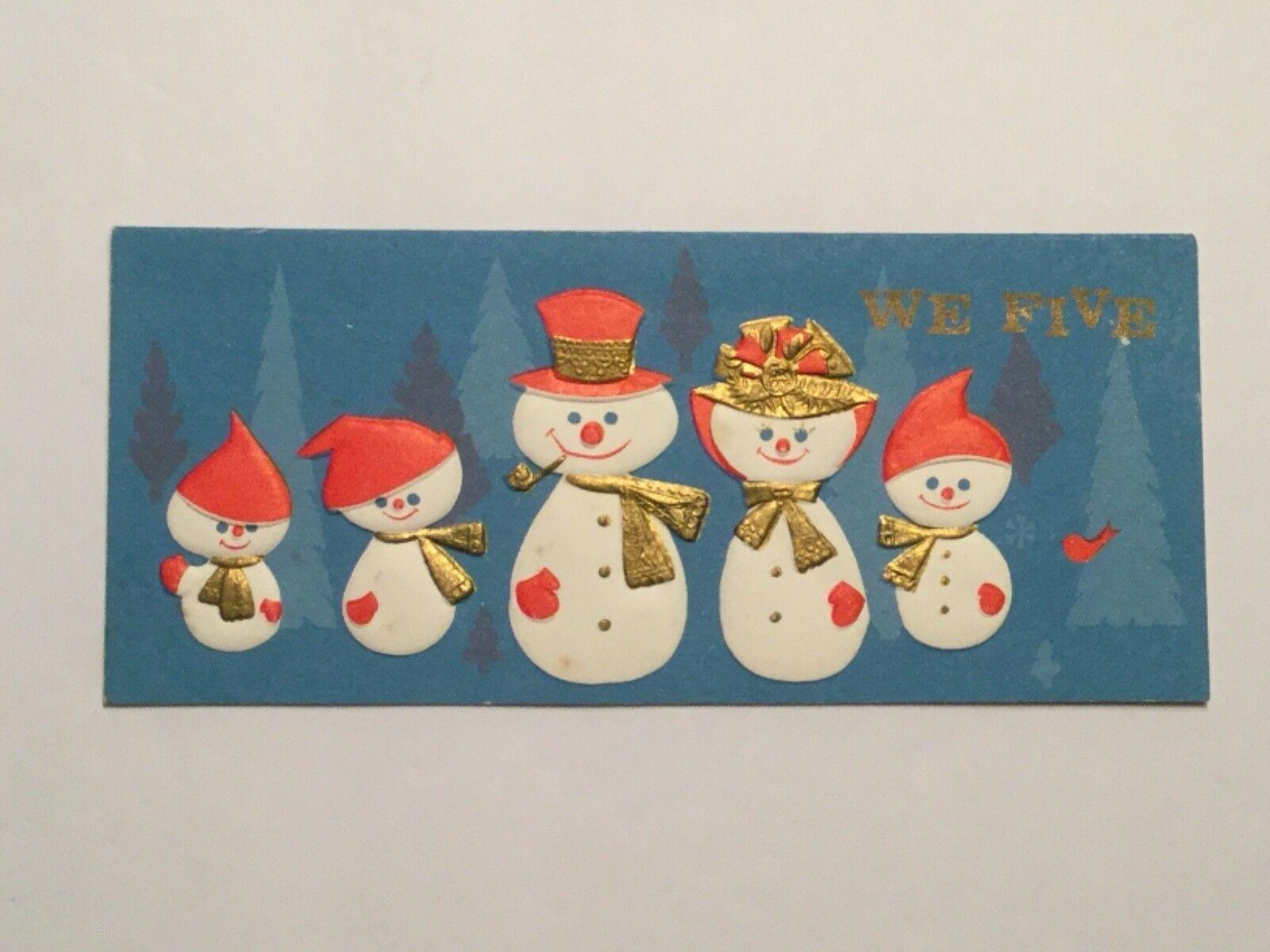 "VINTAGE UNUSED SLIM JIM HALLMARK ""WE FIVE"" CHRISTMAS CARD, SNOWFAMILY, PINK HATS - $2.97"
