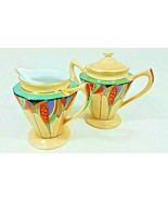 Antique Royal Rochester Fraunfelter Modernistic Covered Sugar Bowl & Cre... - $495.00