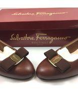 Salvatore Ferragamo Womens Sz 6C Vara 3 CM Heel Cognac Pebble Calf Leath... - $414.95
