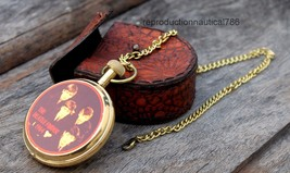 Marine Solid Brass Pocket Watch With Leather Case Working Watch With Bra... - £29.49 GBP