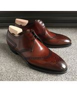 Handmade men's New Brown Leather Shoes, Mens Lace up Wing tip Dress Fash... - $159.97+
