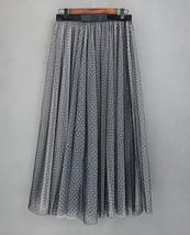 Black Polka Dot Tulle Skirt High Waisted Black Tulle Midi Skirt Outfit image 5