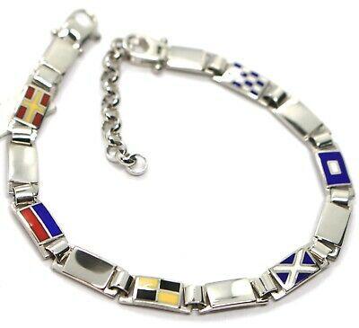 Bracelet Silver 925, Flags Nautical Glazed Tiles Alternate, Long 18 cm, 5 MM